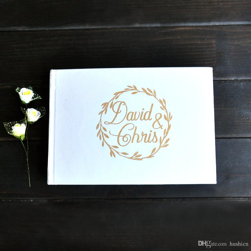 Rustic White Wedding Guestbook Custom Names Alternative Wedding ...
