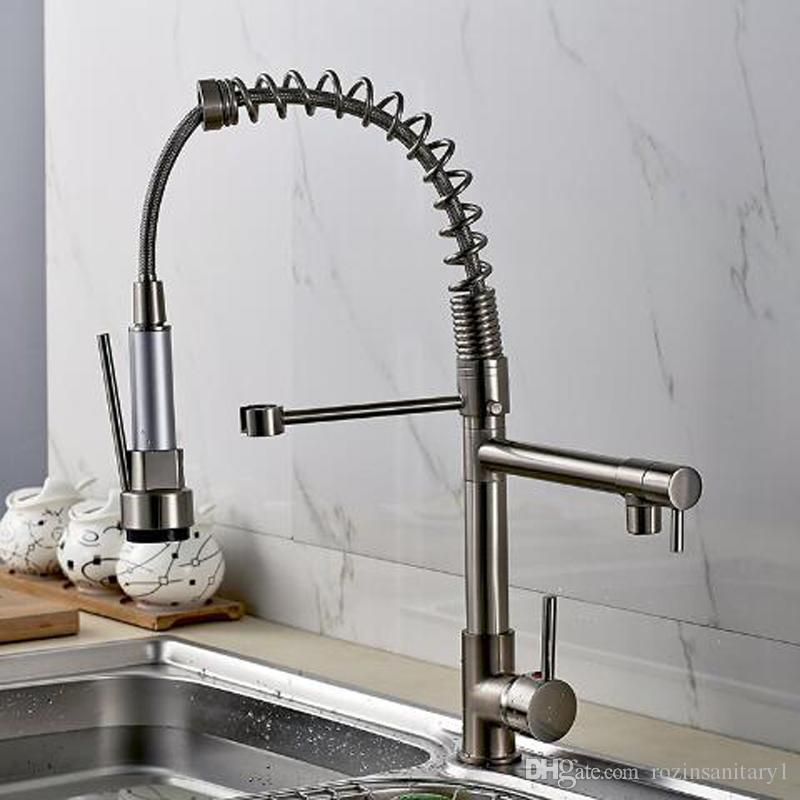 Deck Mounted Hot and Cold Water Kitchen Faucet Nickel Brushed Spring Pull Down Dual Spray Kitchen Mixer Tap