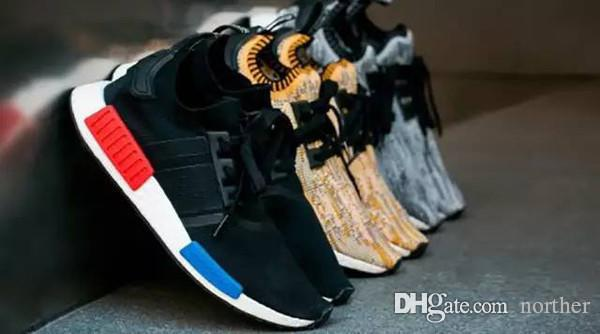 20286cc7d97e0 2019 Cheap Wholesale R1 Runner Primeknit All Black Men Sports Running Shoes  Gold Runner PK Athletic Shoes Size 40 46 With Box Spikes Shoes Best Running  Shoe ...