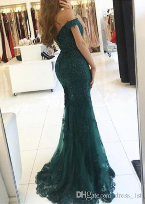 Sexy Lace Beaded Sequin Prom Dresses 2017 Off The Shoulder Mermaid Evening Party Gowns Plus Size Custom Made China EN6217
