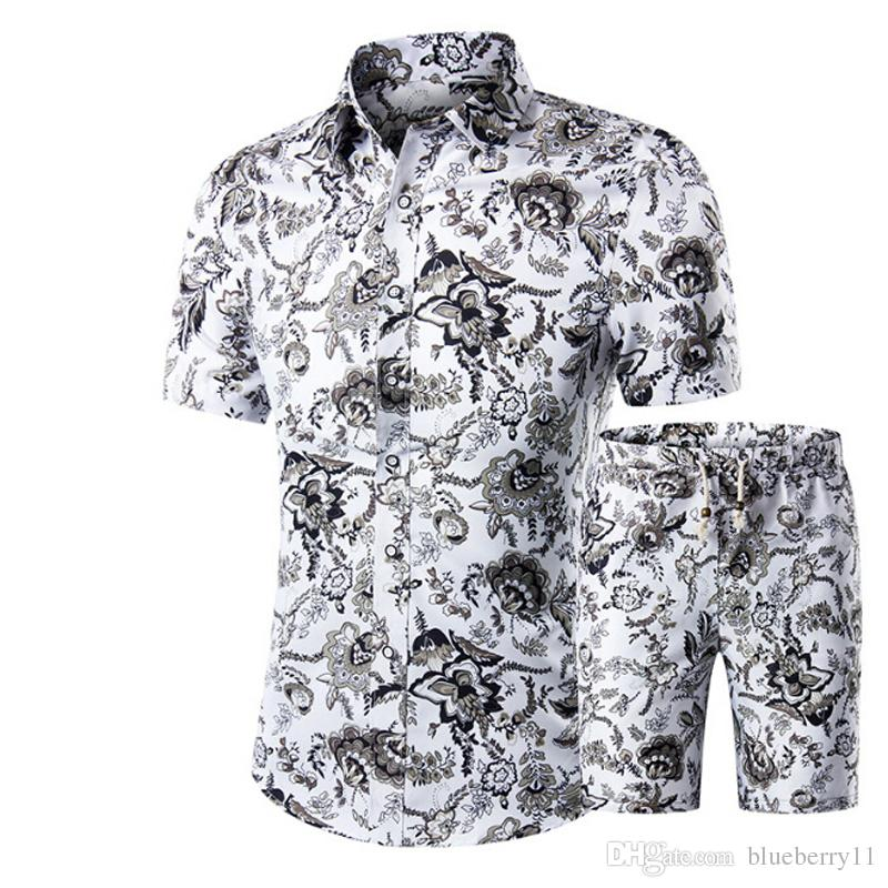 Men Shirts+Shorts Set New Summer Casual Printed Hawaiian Shirt Homme Short Male Printing Dress Suit Sets Plus Size