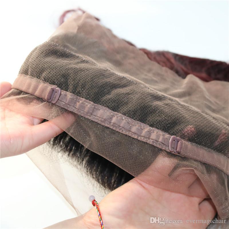 360 Frontal Del Merletto Con Fasci Due Toni Dip Tintura Borgogna 99J Onda Del Corpo Ombre Capelli Umani Tesse Chiusura
