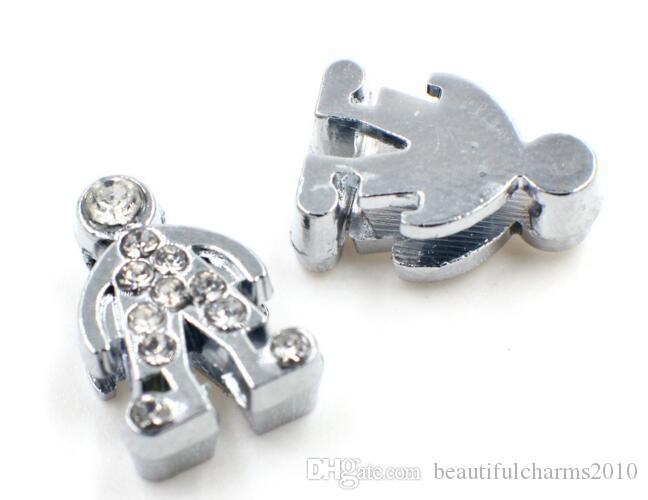 100 unids / lote 8mm rhinestones boy slide charm Fit para 8mm diy pulsera collar pulsera como regalo