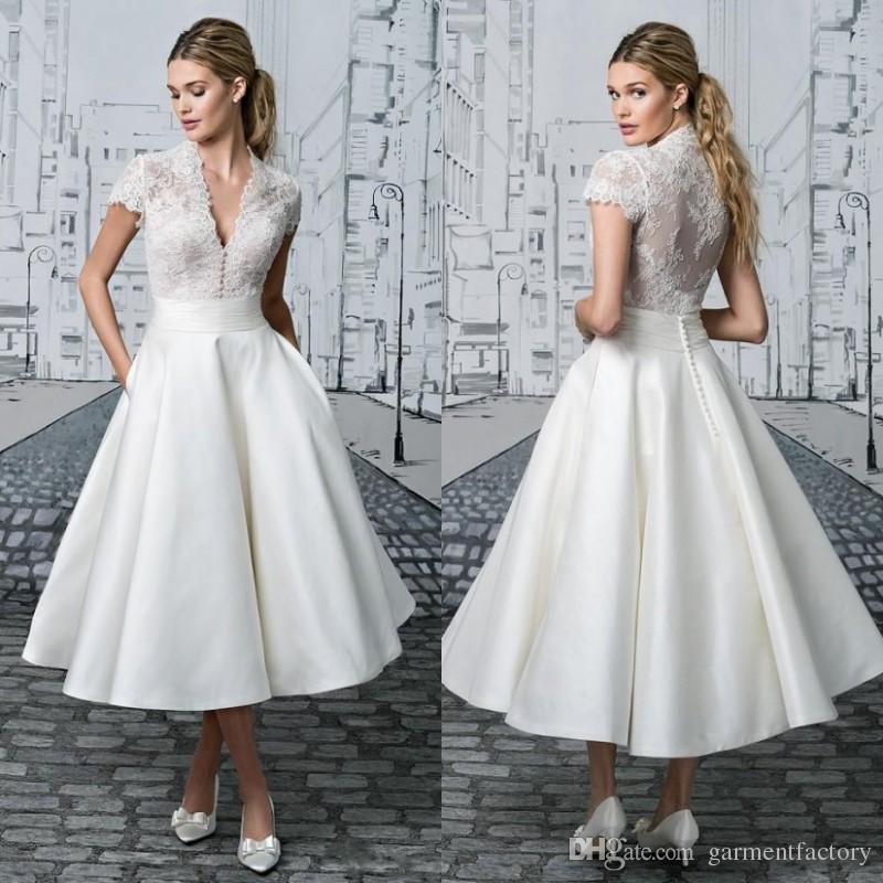 Discount 2017 Vintage Tea Length Wedding Dress V Neck With Stand ...