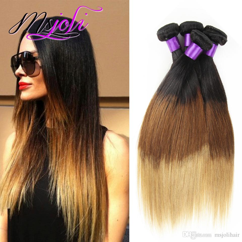 Top Quality Peruvian Virgin Hair Weave Straight Three Tone Four