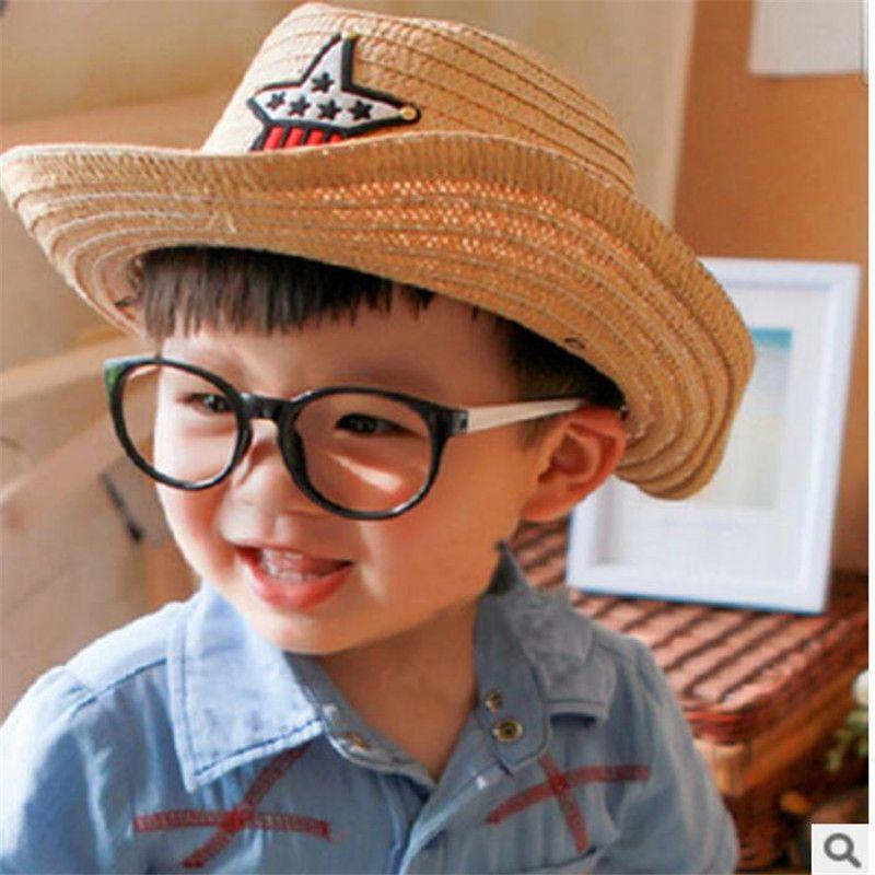 Kids Straw Western Cowboy hat Children Cowgirl Hat with Americian Flag Star