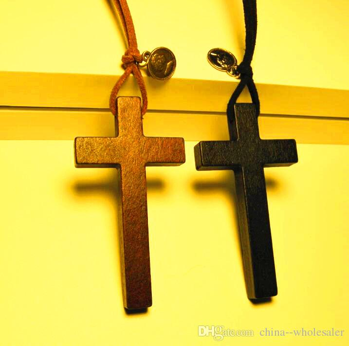 Natural Wood cross pendant necklace tibetan silver bead leather Wax rope sweater chain vintage women men handmade Lovers jewelry