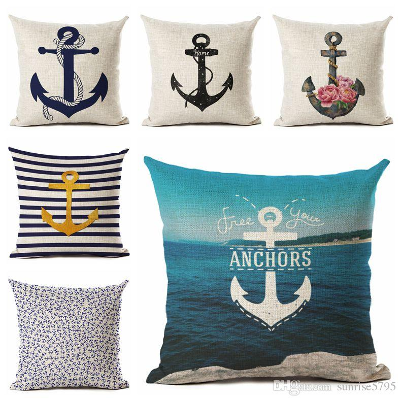 Nautical Anchor Decor Vintage Cushion Cover Shabby Chic Throw Pillow Case  Marine Capa De Almofada Home Office Cojines Replacement Cushions For Outdoor  ...