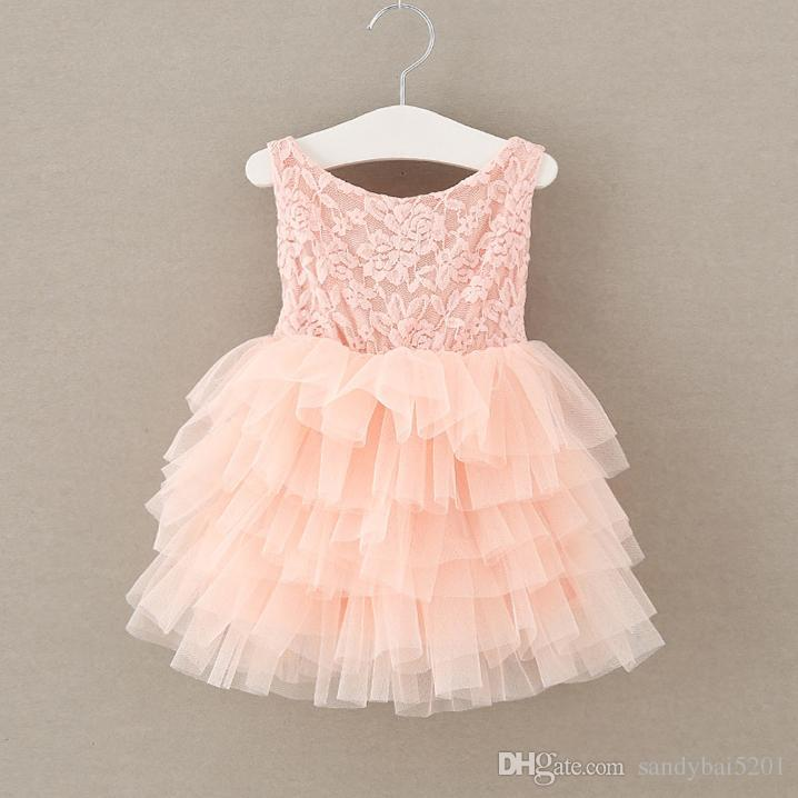 Kids Girls Rose Lace Dresses 2017 Summer Baby Girl Pink Ruffle Dress Infant Princess Bow Flower Party Dress Babies Wholesale Clothing S518