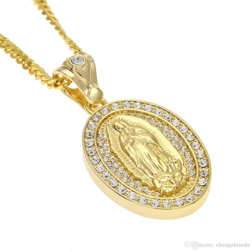 Iced Out Oval Virgin Mary Pendant Hip hop Jewelry Alloy Bling Rhinestone Crystal Golden Silver Necklace Cuban Chain