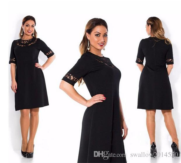 Wholesale-Lace Dress Half Sleeve Solid Color Plus Size Women Clothing New Style Summer Dress Womens O-Neck Knee-Length Dresses