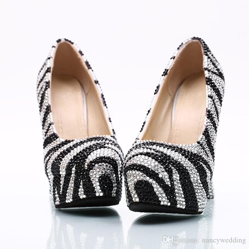 2017 Black and Silver Rhinestone Wedding Shoes Lady Evening Party Pumps Cinderella Prom High Heels Banquet Dancing Shoes