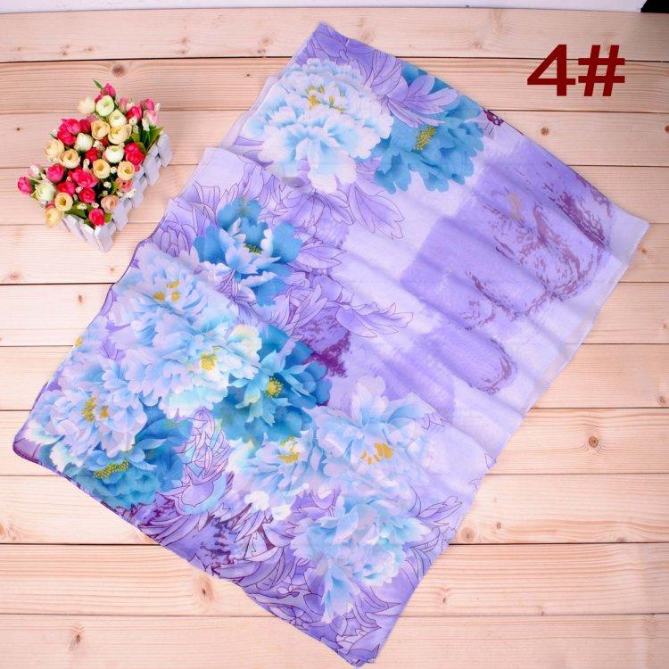 Fashion woman peony gradient ramp chiffon scarf female silk painting wholesale printed cheap long Silk scarves factory direct sale