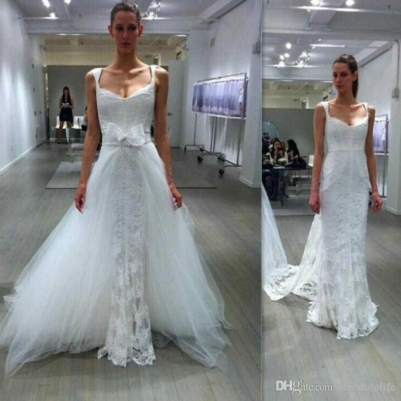 New Style Lace Wedding Dresses With Detachable Skirt Sheath Straps V ...
