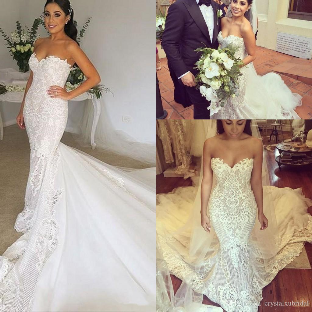 Acheter 2018 Nouveau Luxe Robe De Mariage Sirène Robes De Mariée Chérie  Dentelle Applique Perlé Arabe Saoudite Plus La Taille Robes De Mariée  Chapelle Train