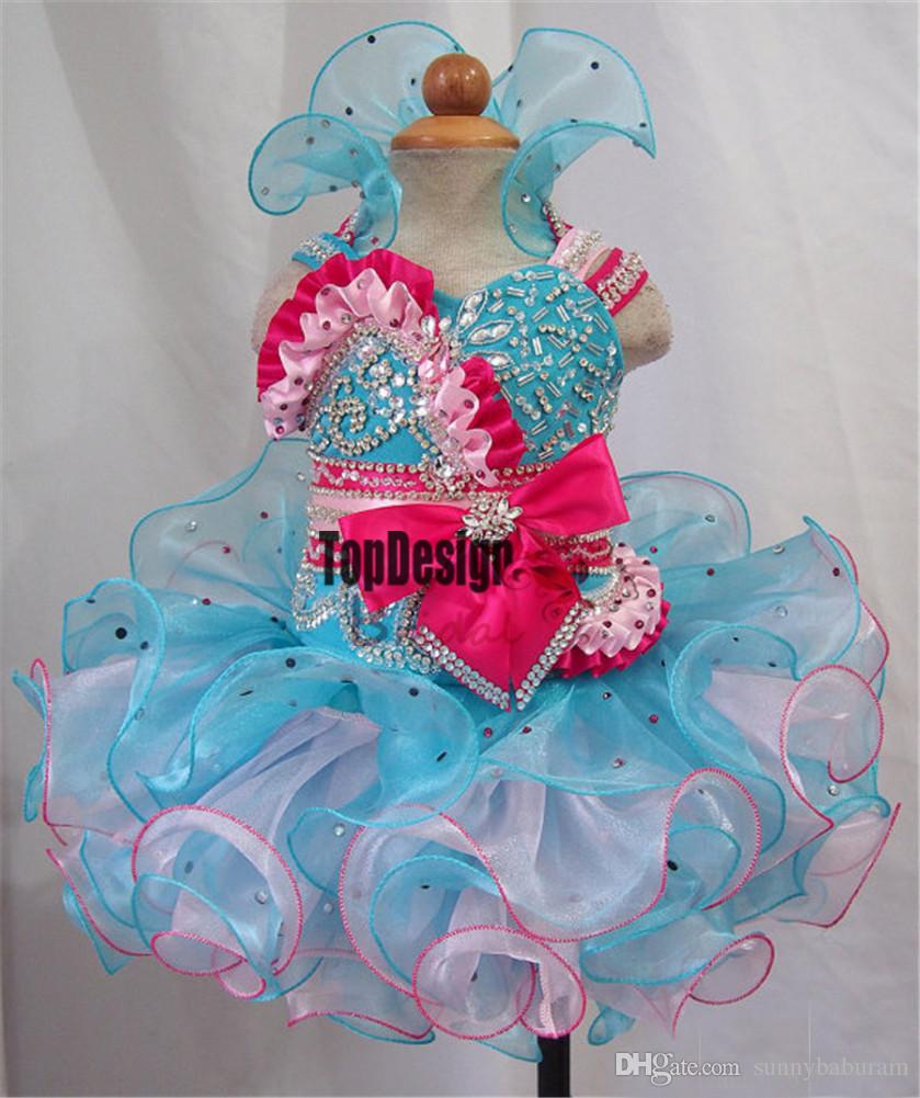 Wholesale New 2017 Custom Made Girls Halter Glitz Pageant Cupcake Dresses Infant Kids Mini Short Party Gowns Toddler Girls Tutu Pageant Dres