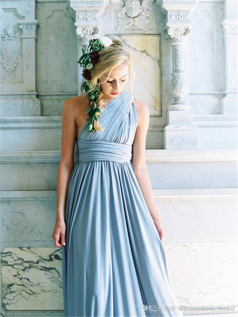 2019 nuevos vestidos de dama de honor azul polvoriento Covertible longitud del piso plisado Country Beach Wedding Party Guest vestidos baratos vestidos largos de baile