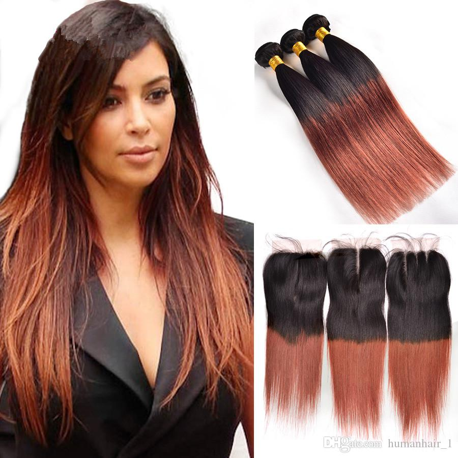 2018 grade 8a brazilian virgin human hair straight hair weave with 2018 grade 8a brazilian virgin human hair straight hair weave with lace closure two tone colored 1b 30 auburn ombre hair wefts with closure from humanhair1 pmusecretfo Images