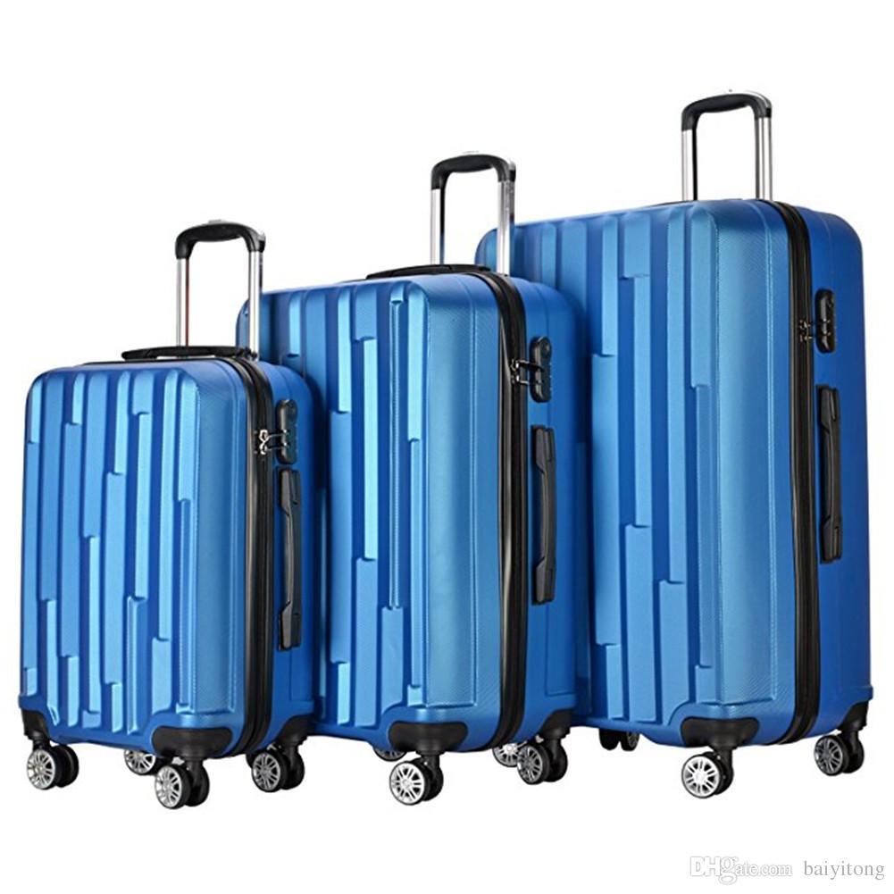 Легковес 3 частей носит дальше чемодан обтекателя втулки колеса комплекта  багажа (20 + 24 + 28 дюймы) путешествия чемодан ABS школа прокатки тележка  ... d30d65882cb
