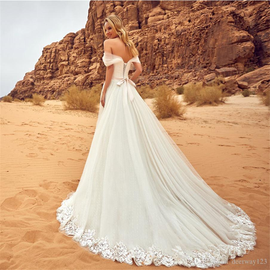 Romantic Lace Appliques Off the Shoulder Wedding Dresses With Sashes Sweetheart Lace Up Back Outdoor Wedding Bride Gowns Robe De Mariage
