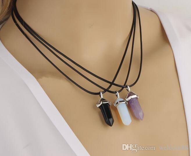 10 pçs / lote multicolor diamante lambra de vidro pingente colares para DIY artesanato moda jóias presente pg12