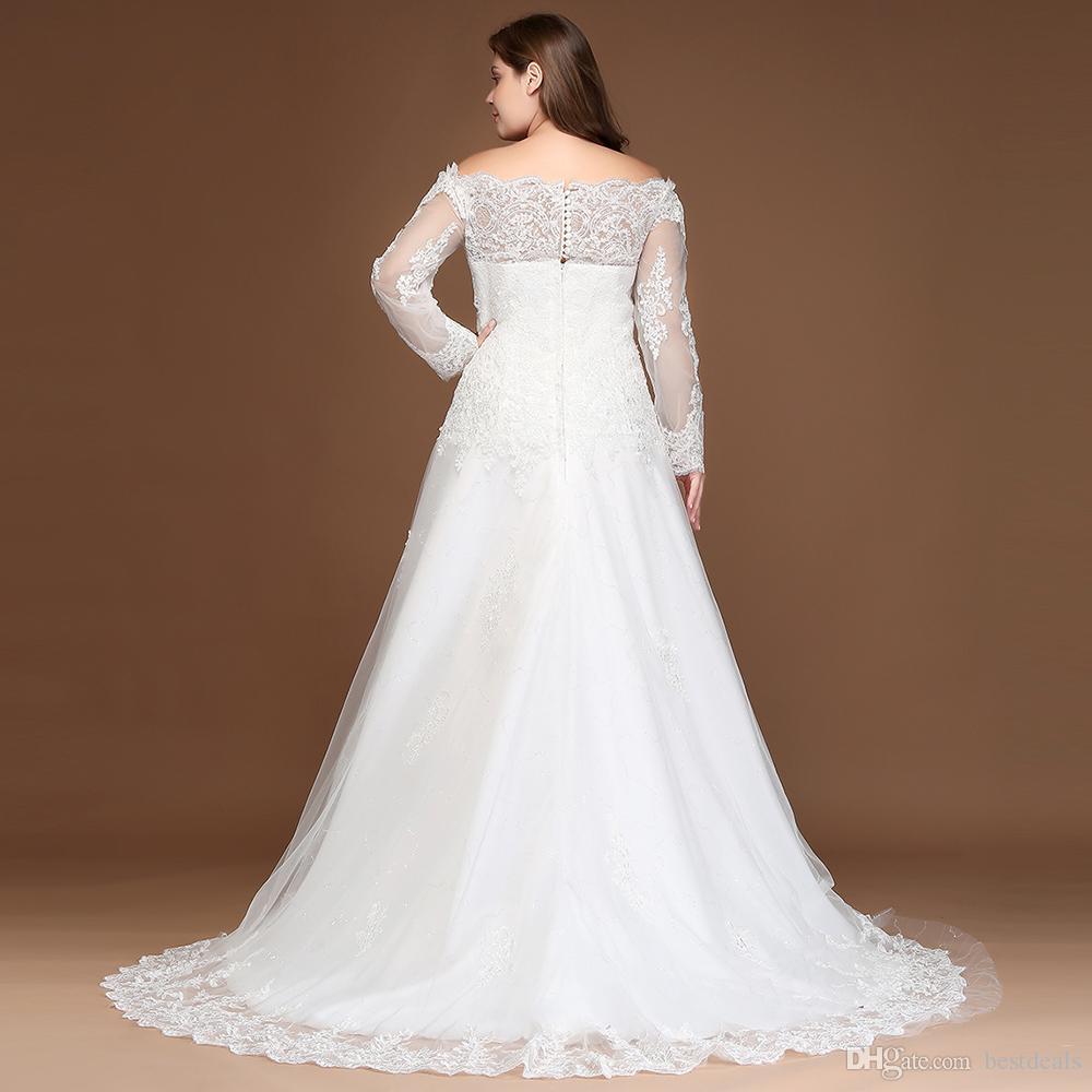 2018 بالإضافة إلى حجم فساتين الزفاف الدانتيل بأكمام طويلة شير ألف خط الخرز تول appliqued أثواب الزفاف CPS297