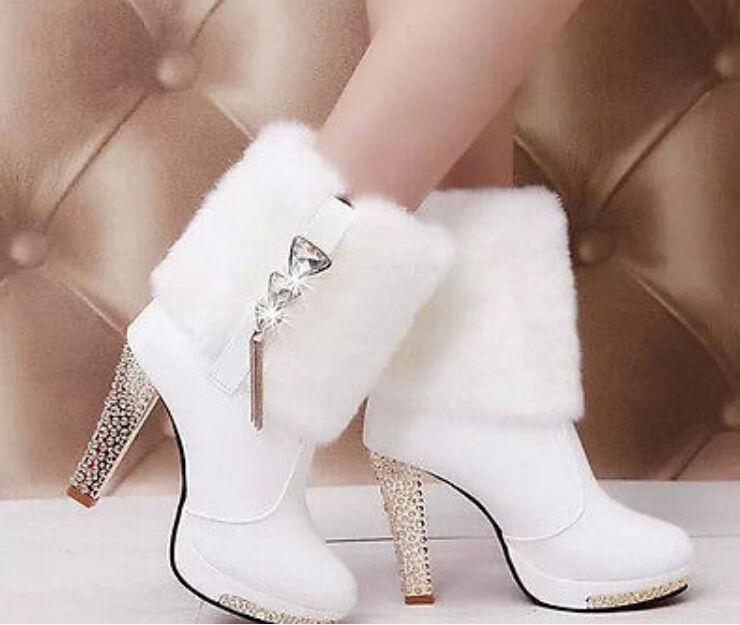 Women's Fashion Faux Fur Platform High Heel Ankle Boots Snow Boots
