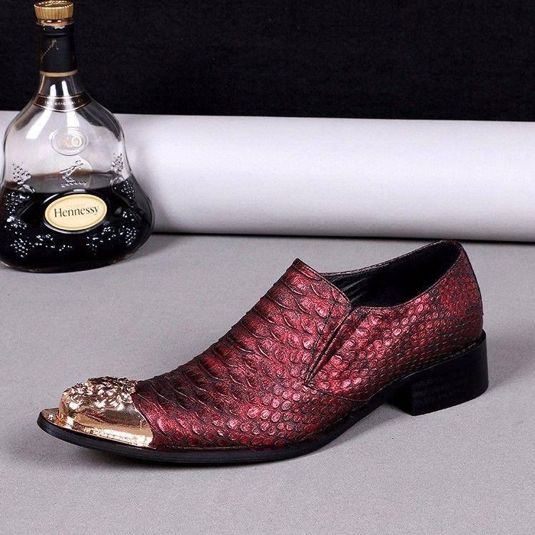 Novo Estilo Britânico de Luxo Genuíno Couro Sapatos Masculinos Vermelho Snakeskin Apontou Toe Sapatos de Casamento Terno de Negócios dos homens Flats Tamanho Grande