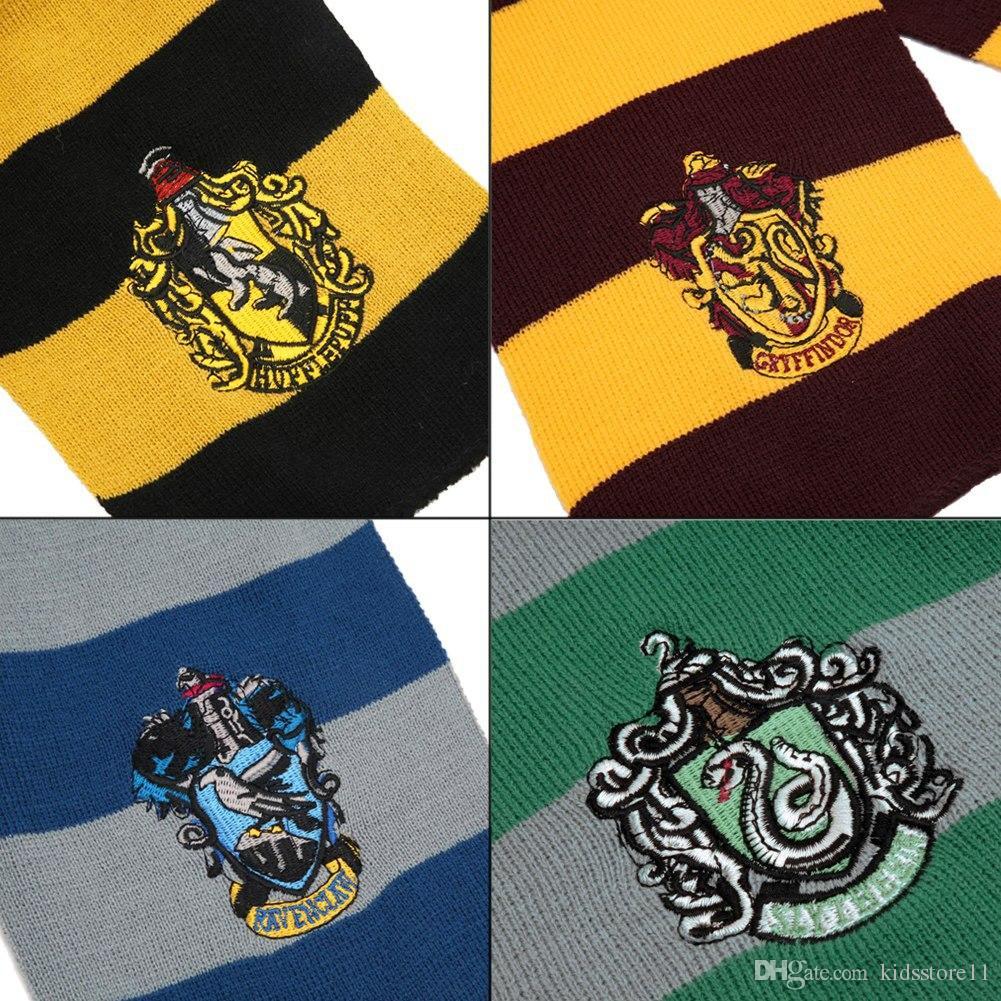 Enfants Mode Harry Potter Écharpe Foulards Gryffondor Poufsouffle Poufs Serpentard En Tricot Écharpes Cosplay Costume Cadeau Rayure Chaude Écharpe GRATUIT DHL