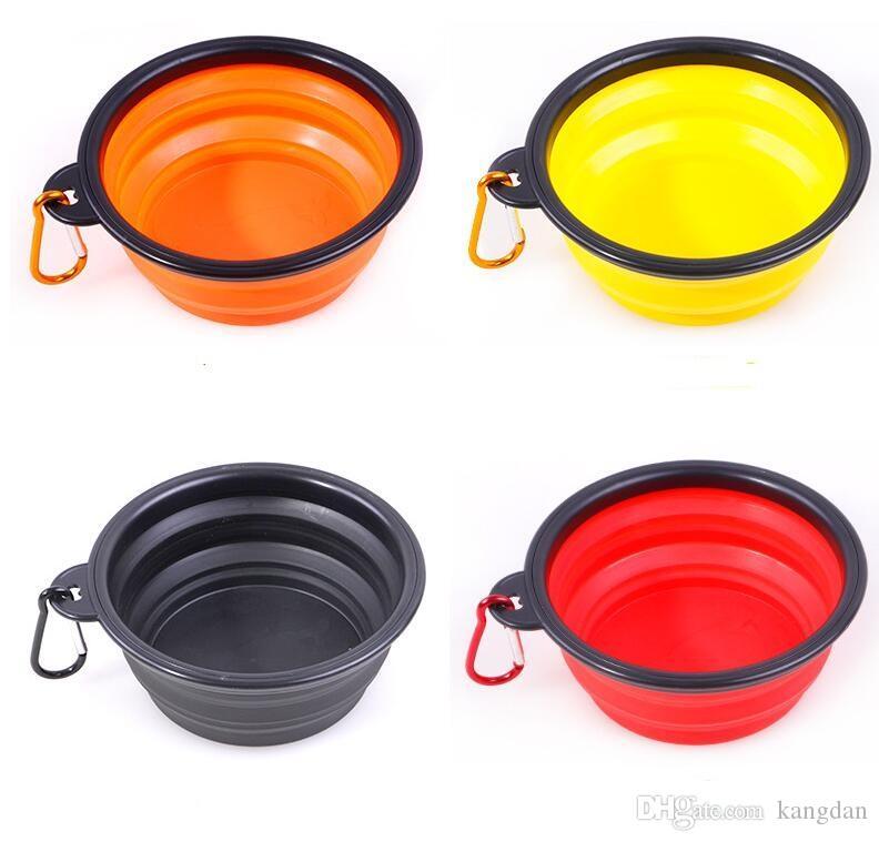 Portatile in silicone pieghevole pet ciotola cani Cucciolo gatti Pet Feeding Travel Bowl con moschettone Facile da trasportare Pet Food Bowl Feeder Dish con gancio
