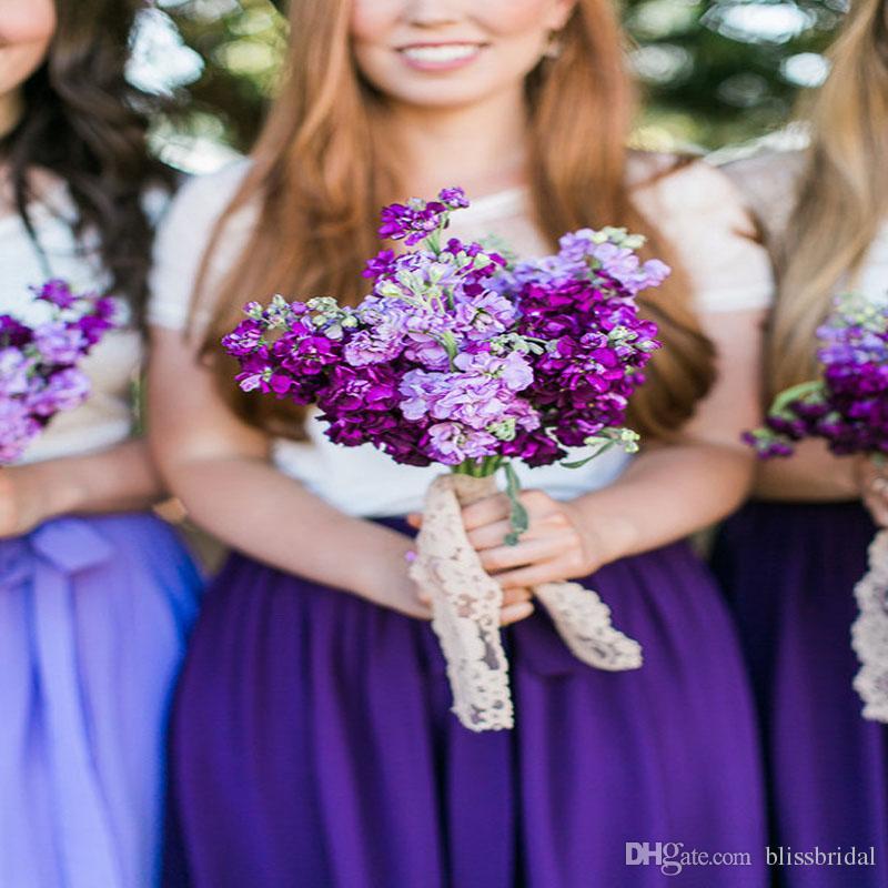 Purple Knee Length Chiffon Skirts With Belt Feminine Elastic Waist Bridesmaid Dresses Custom Made A-line Formal Wedding Party skirt