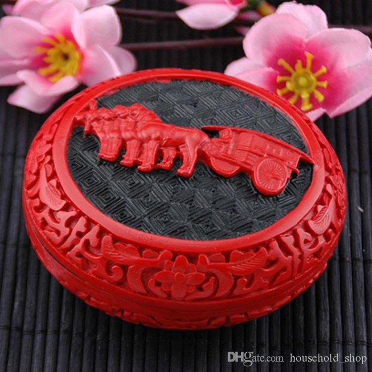 Manual Wooden Jewelry Box Carved Lacquer Ware Gift Paint art Carving Case Chinese traditional arts Hand made Hot in Canada 27 Styles DHL