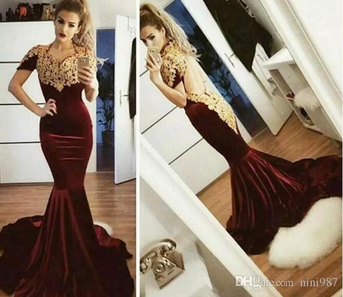 Mermaid Burgundy Evening Dresses With Gold Appliques Cap Sleeve Open Back Dubai African Long Prom Dress Elegant Pleuche Fashion Formal Gowns