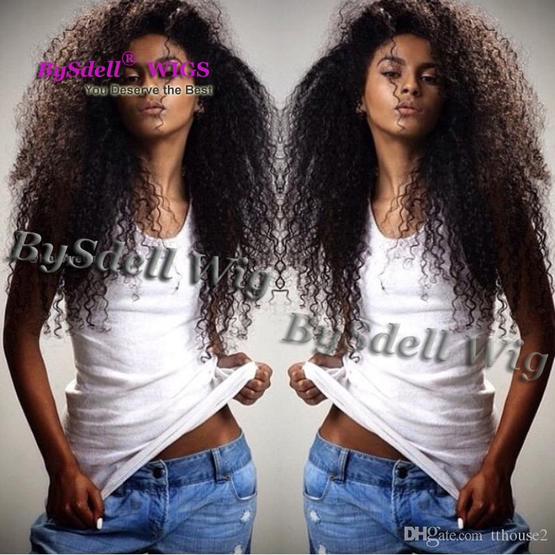Malaisienne Naturel Noir Couleur De L'eau Plage Crépus Bouclés Cheveux Avant De La Dentelle Perruque Synthétique Avant De La Dentelle Perruques pour Noir / Chocolat Peau Femmes