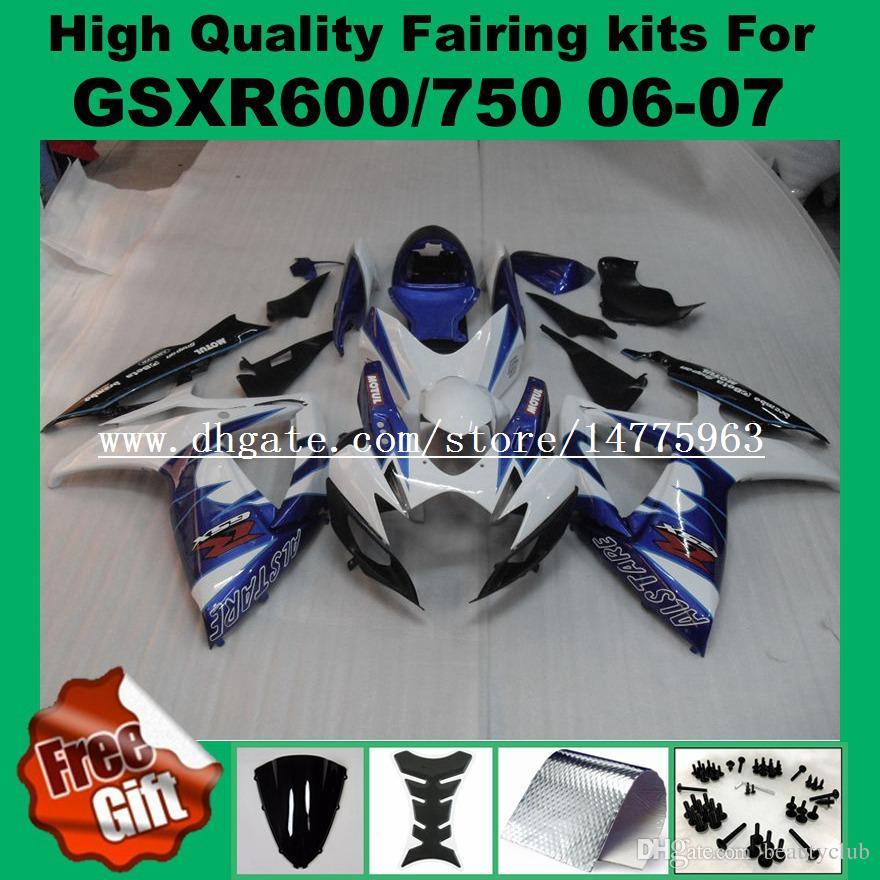 Carenatura bianco nero SUZUKI GSXR600 GSXR750 06 07 K6 K7 GSX-R600 GSX-R750 2006 2007 GSXR 600 750 06 07 carene kit + 9Gifts