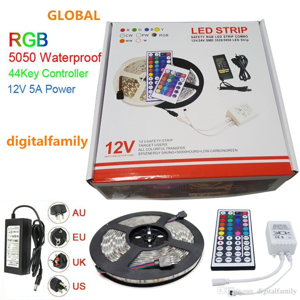 Led strip light rgb 5050 5m led strips christmas gift waterproof led strip light rgb 5050 5m led strips christmas gift waterproof with 44 keys ir remote controllerdc12v 5a power adapter in retail box rgb led light strips aloadofball Gallery