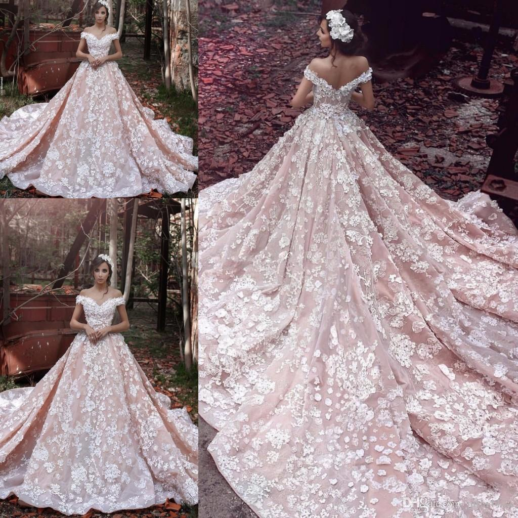 Discount vintage cathedral train 3d lace floral blush for Elie saab blush wedding dress