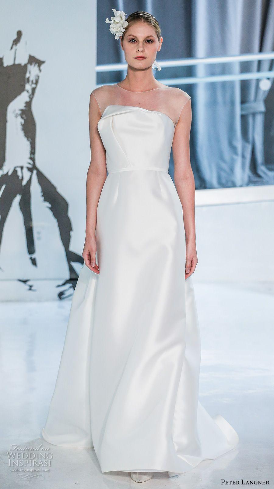Simple Clean Satin Elegant Sheath Wedding Dresses 2018 Peter Langner ...