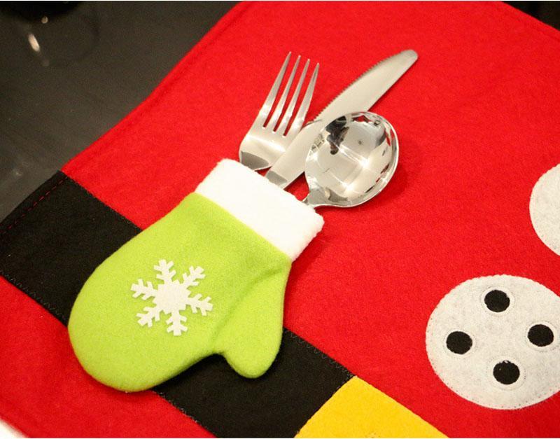 Tovagliette di Natale con posate Holder Bag tovagliette tovaglioli panno Decor Copertura Per La Cucina Holiday Party casa 17.7