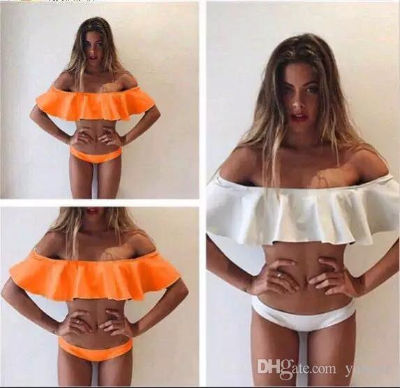 2017 Summer styles Triangle Strapless Lace Crop Top Sexy Bikini Set Women Plus Size Off Shoulder Swimsuit Swimwear Bathing Suit QP056