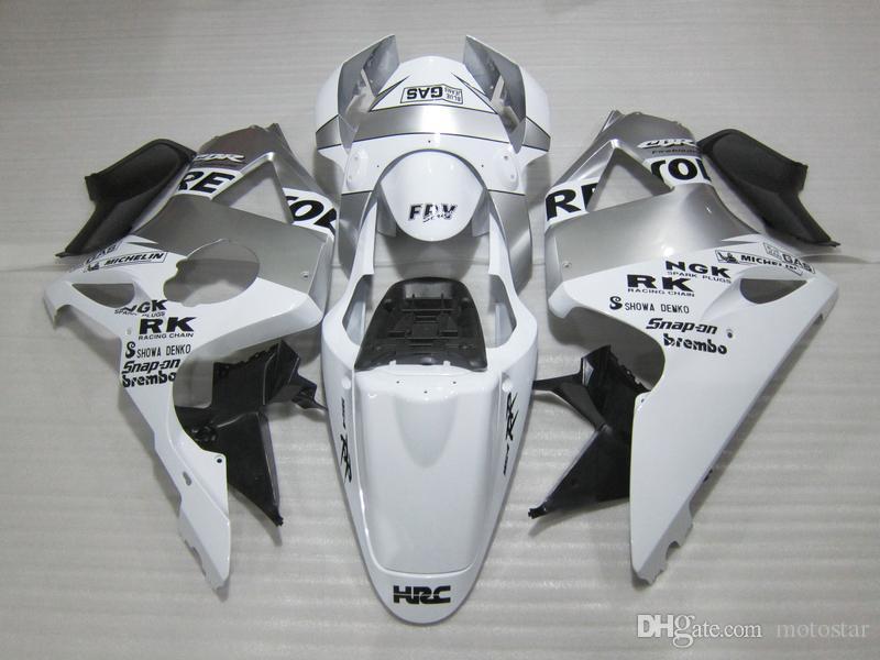 Hot sale plastic fairing kit for Honda CBR900RR 02 03 white silver fairings set CBR 954RR 2002 2003 OT15