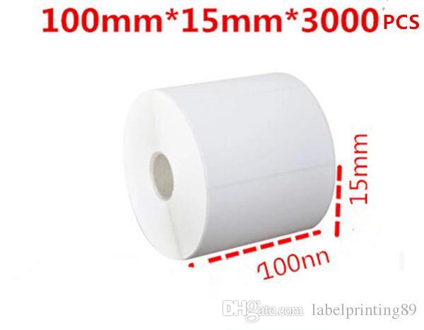 100 * 15mm / rouleau en papier ou en papier blanc étiquettes à barres d'autocollant auto adhésives