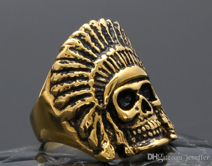 Vendita calda nuovissima lega en Vintage Anello in acciaio inox Hip hop Stile punk Oro nero Antico Maya Tribale Indian Chief Skull Anelli Gioielli