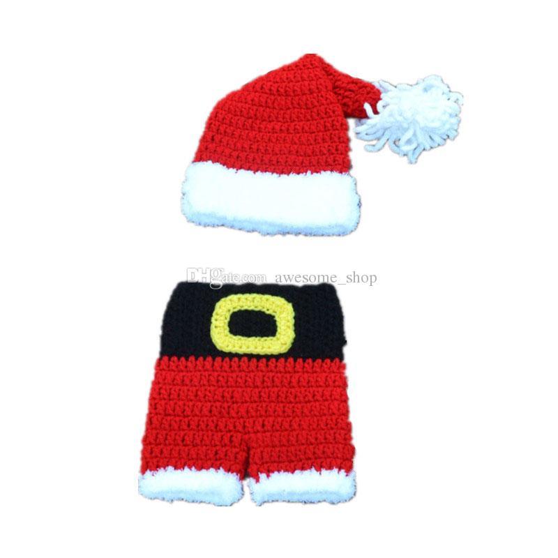 Новорожденный Санта-эльф наряды, ручной вязки крючком Baby Boy Girl Pompom Рождество шляпа и шорты набор, младенец малыш Xmans фотография опора