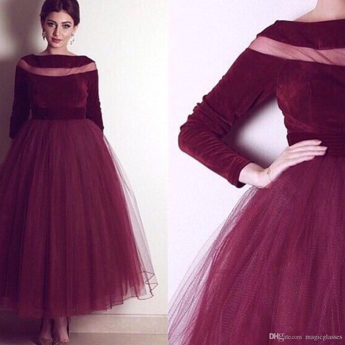 Burgundy Velvet Evening Gown 2018 A-Line Prom Dresses with Long Sleeve Boat Neck Long Formal Pageant Gowns vestidos de noiva Ankle Length