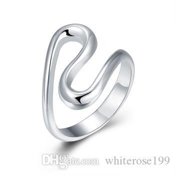 Groothandel - detailhandel laagste prijs kerstcadeau, gratis verzending, nieuwe 925 zilveren mode ring R113