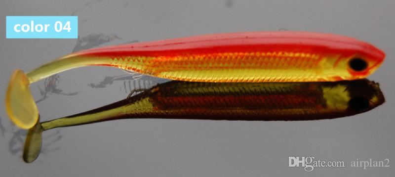 der weichen Köder T- Tail Worm Silikon Bass Minnow Swimbaits Foil Bionic Soft-Köder Fliegen-Fischen-Köder-Zubehör 1606850