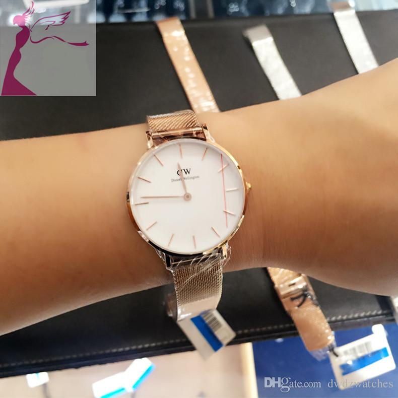 2019 neue Daniel Uhren Mädchen Stahlband 32mm Frauen Uhren Mode Luxus Quarzuhr Uhr Relogio Feminino Montre Femme
