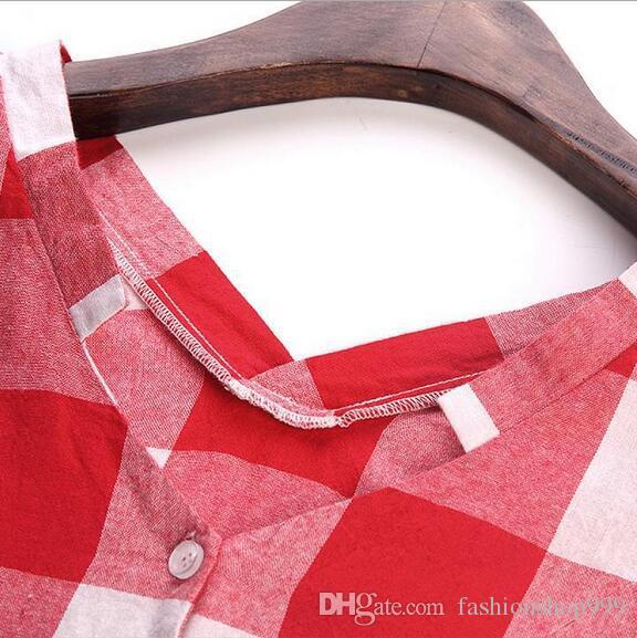 Kariertes Hemd der neuen Frauen unteres Hemd der beiläufigen übergroßen Frauen + Kragensommer-Art und Weisejacke der Größe V M-5XL