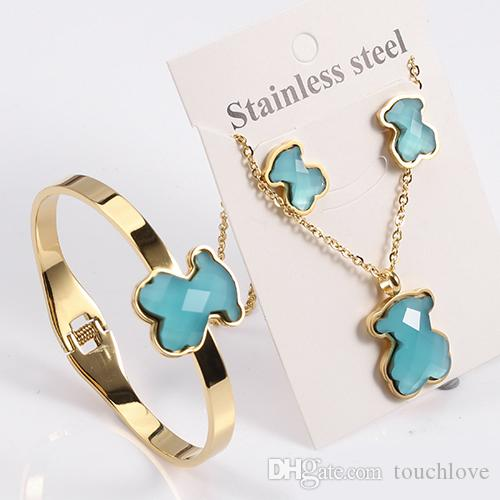 Online cheap tl stainless steel gold plated bear jewelry for Does gold plated jewelry fade